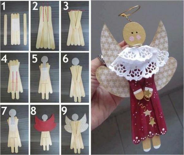 bastelideen eisstiel weihnachtsengel papier basteln | Ангелы,