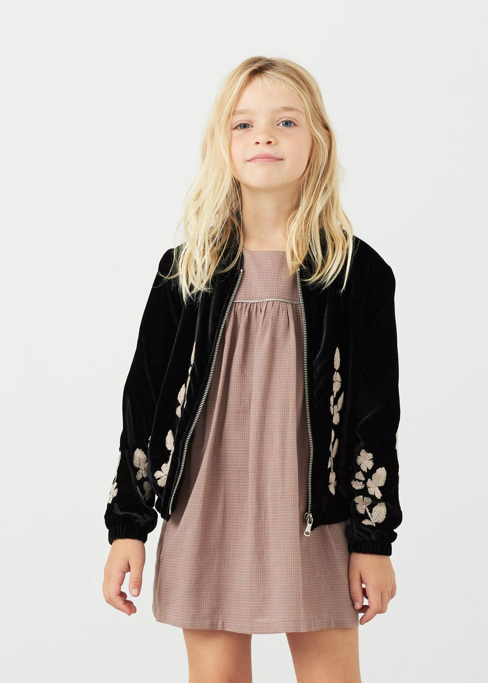 Robe Manches Cloche Fille In 2019 Kids Bomber Jacket