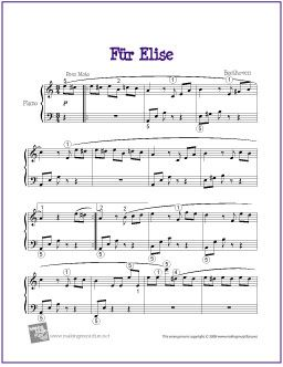 Fur Elise Beethoven Easy Piano Sheet Music Piano Sheet Music