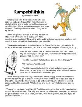Fairy Tale Elements: Rumpelstiltskin Reading Passage and ...