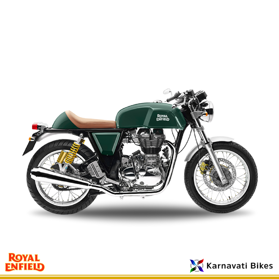 Get The Sporty Ergonomic Riding Stance With Royaenfield Continental Gt Green Royal Enfield Modern Cafe Racer Cafe Racer Motorcycle