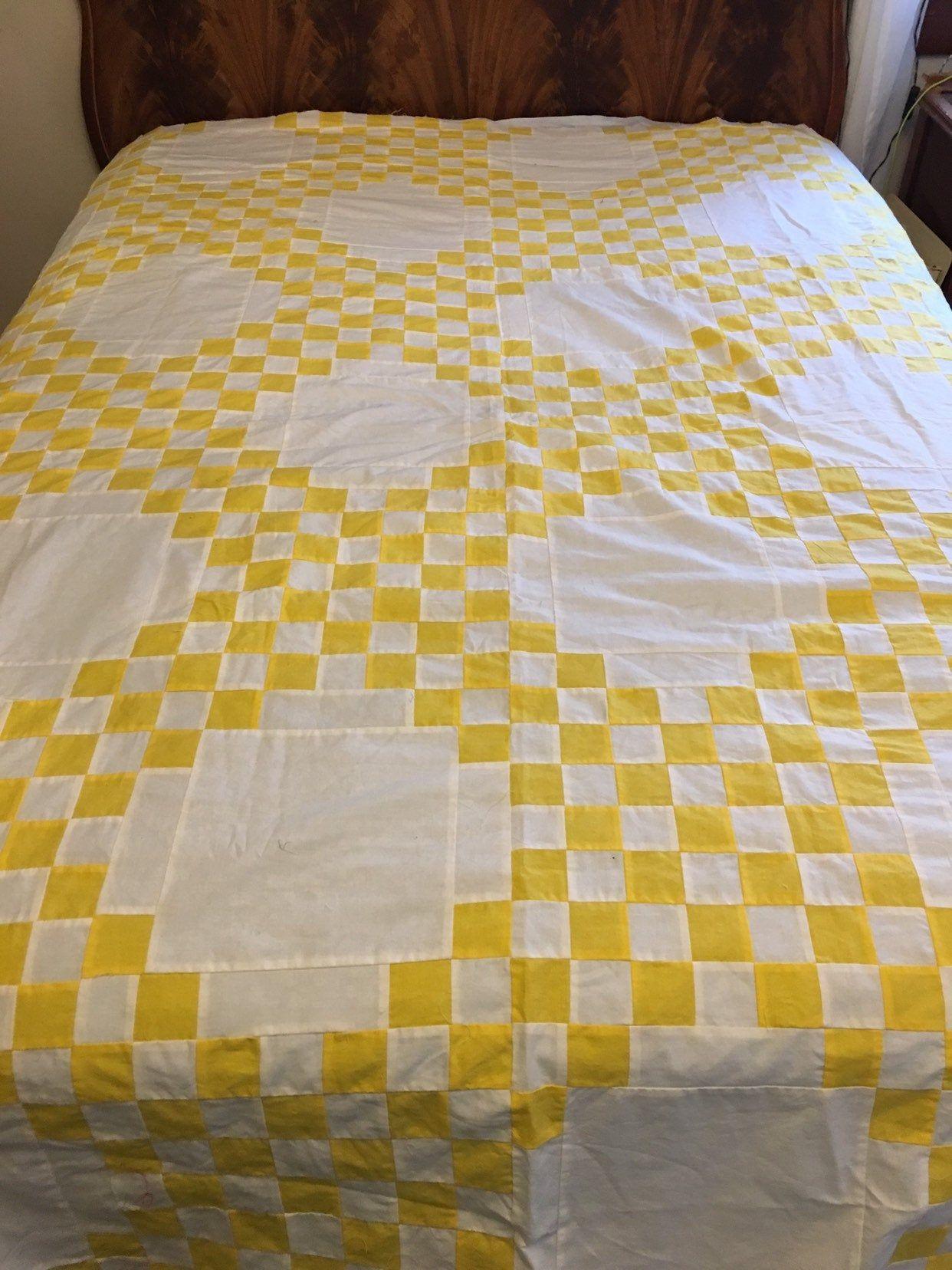 Vintage Yellow Irish Chain Quilt Top Striking Quilttop Bedspread Quilt Yellow Irish Quilts Chain White Vintage Irish Chain Quilt Quilt Top Quilts