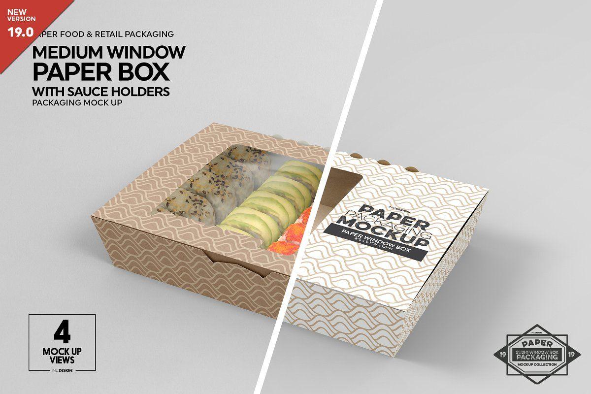 Download Paper Window Sushi Box Medium Mockup Box Mockup Free Packaging Mockup Paper Packaging