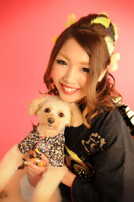 わんちゃんと一緒に 成人式写真 ペット ペット 犬 写真
