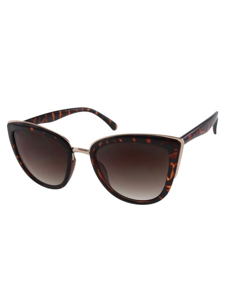 d888a92ab3 Womens Oversize Tortoise Cateye Sunglasses with Metal Accents ...