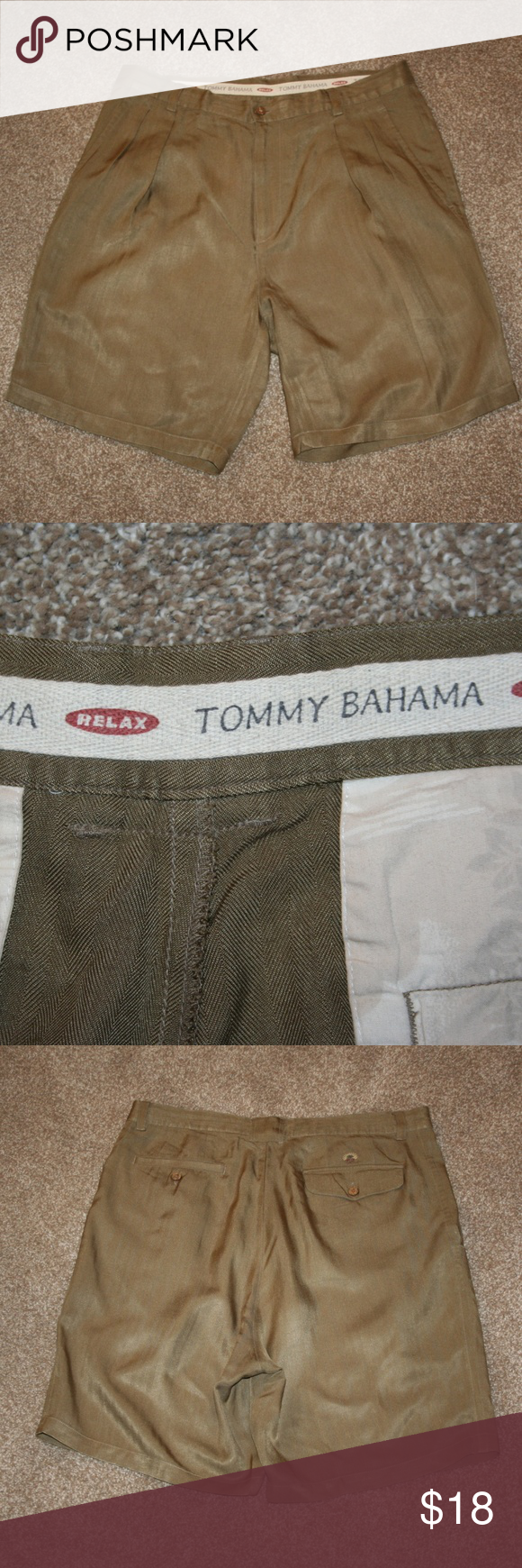 Tommy Bahama Olive Green Chino Shorts Waist 36 Green Chinos Chino Shorts Chinos Style