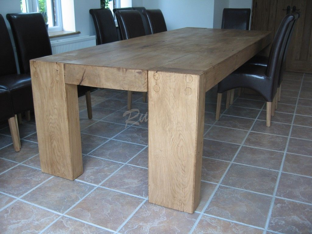 Rustic Oak   Solid Beam Dining Table   Four Legs