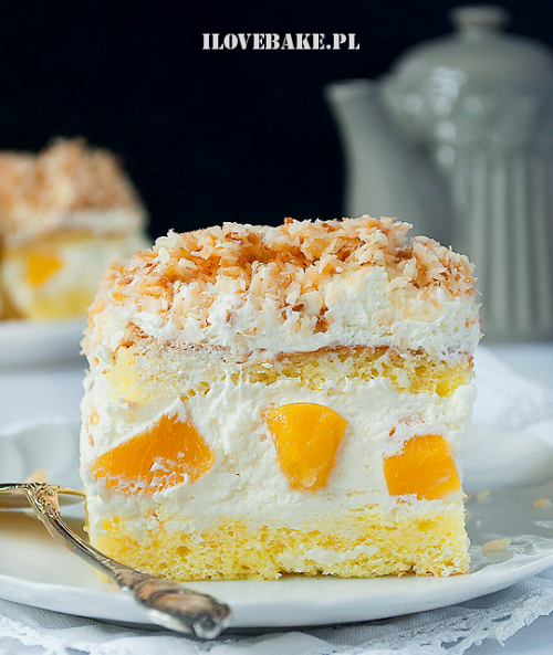 Coconut Peach Cake (Polish Recipe)
