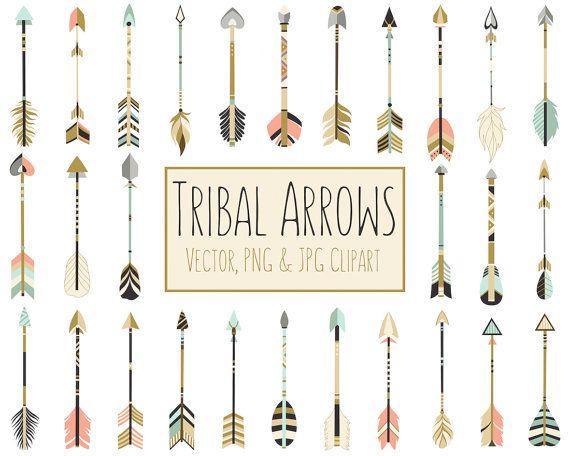 Tribal Arrows Boho Clipart 28 300 Dpi Vector Png Jpg Etsy Tribal Arrows Digital Clip Art Set Clip Art