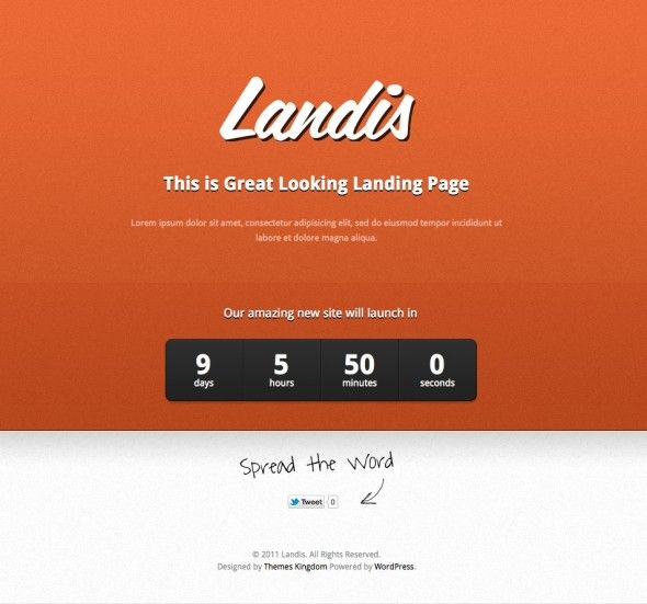 Landis is a simple one page Landing/Under Construction WordPress Theme that allows you to keep your users informed while you are building a your amazing new website. This WordPress Theme will allow you to quickly and easily create a landing page on a your website project that tells the visitors what is going on and when the site will be launched.