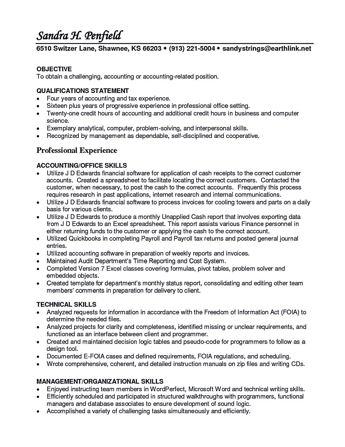 Short Resume Account Receivable Resume Shows Both Technical And Interpersonal