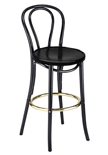 Manhattan Bentwood Stool All Wood Black Lacq Brass Foot Rail 2018 Blk Vs Stool Wood Cafe Style