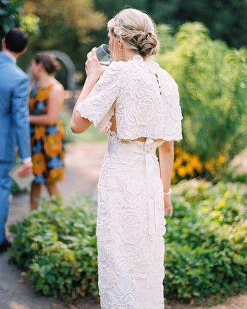 bride wearing separates