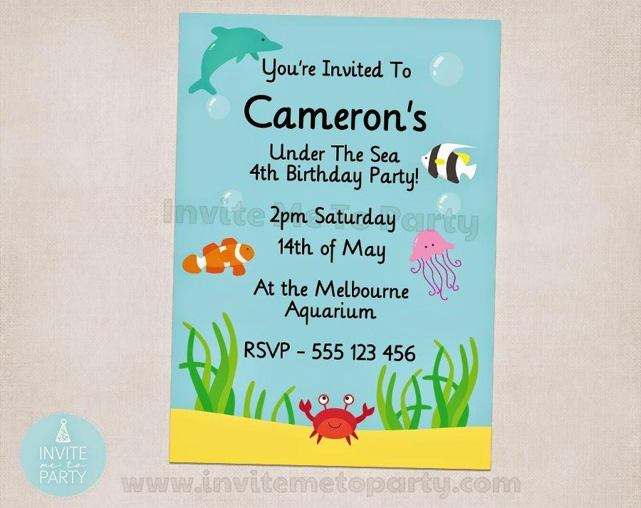 Under the Sea Party Invitation Invite Me To Party: Under The Sea Party