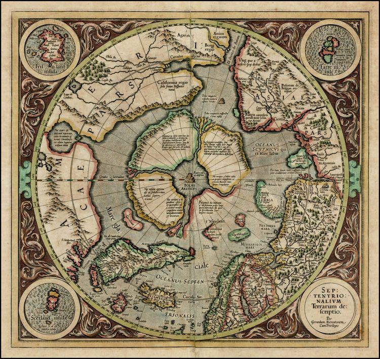 Septentrionalium Terrarum Colour North Pole Arctic Map Poster by Gerard Mercator