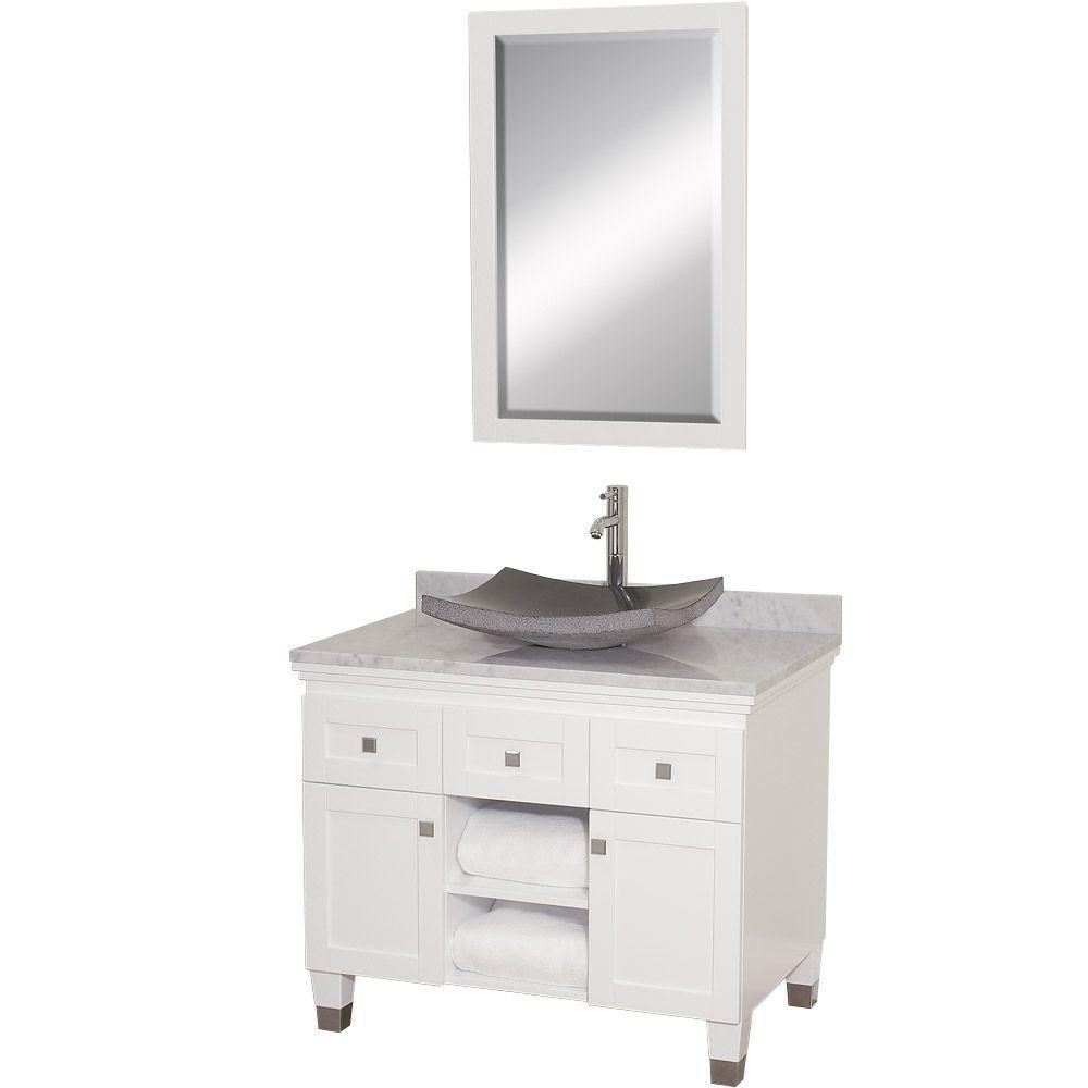 Premiere Inch W Drawer Door Freestanding Vanity In White With - Freestanding 36 inch bathroom vanity