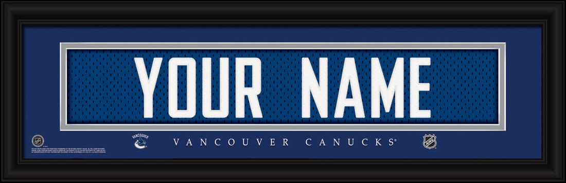 Vancouver Canucks hockey jersey print framed to look like a real jersey  shadow box frame in 3D with embroidered name. Team name and logo are  included in the ... 1d2cefb30