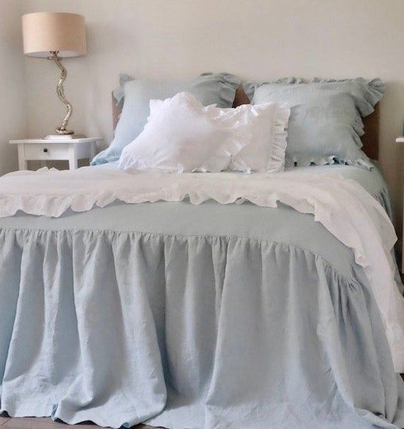 Ruffled Linen Coverlet Or Bedspread With Images Linen