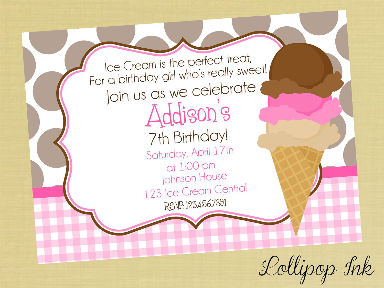 Ice Cream Cone Printable Birthday Invitation Ice Cream Party