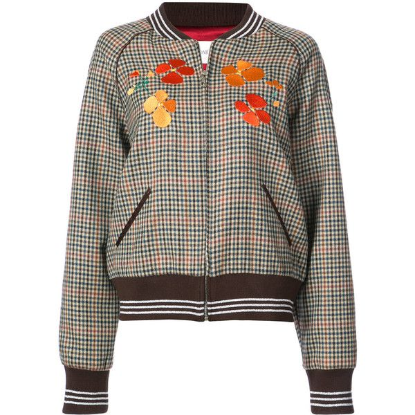 See this and similar Rodarte jackets - Brown multicolour wool-blend and silk  embroidered checked bomber jacket from Rodarte featuring a ribbed shawl  collar, ...