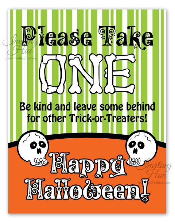 Printable Sign for Halloween Candy Bowl for Trick-or-Treaters