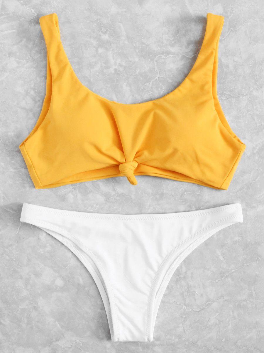 e6dcd48fdf Two Tone Knot Front Bikini Set -SheIn(Sheinside) | summer | Bikinis ...