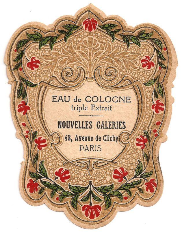 French Paris Perfume Label Eau de Cologne c1900 Vintage Ads and