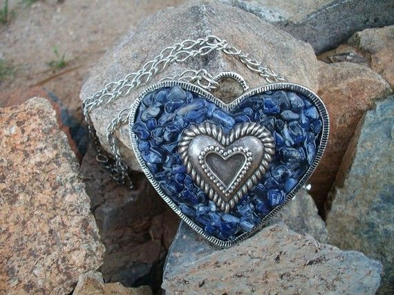 AnD Bling One Of a Kind Jewelry - Blue Sodalite Heart Necklace. $22.00, via Etsy.