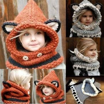 Baby Toddler Girl Boy Knitted Fox Beanie Hooded Scarf Earflap Warm Hat Cap US