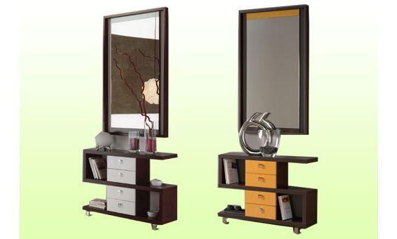 Recibidor con espejo y mueble con cajones en un actual y for Diseno de muebles con cajones de verduras