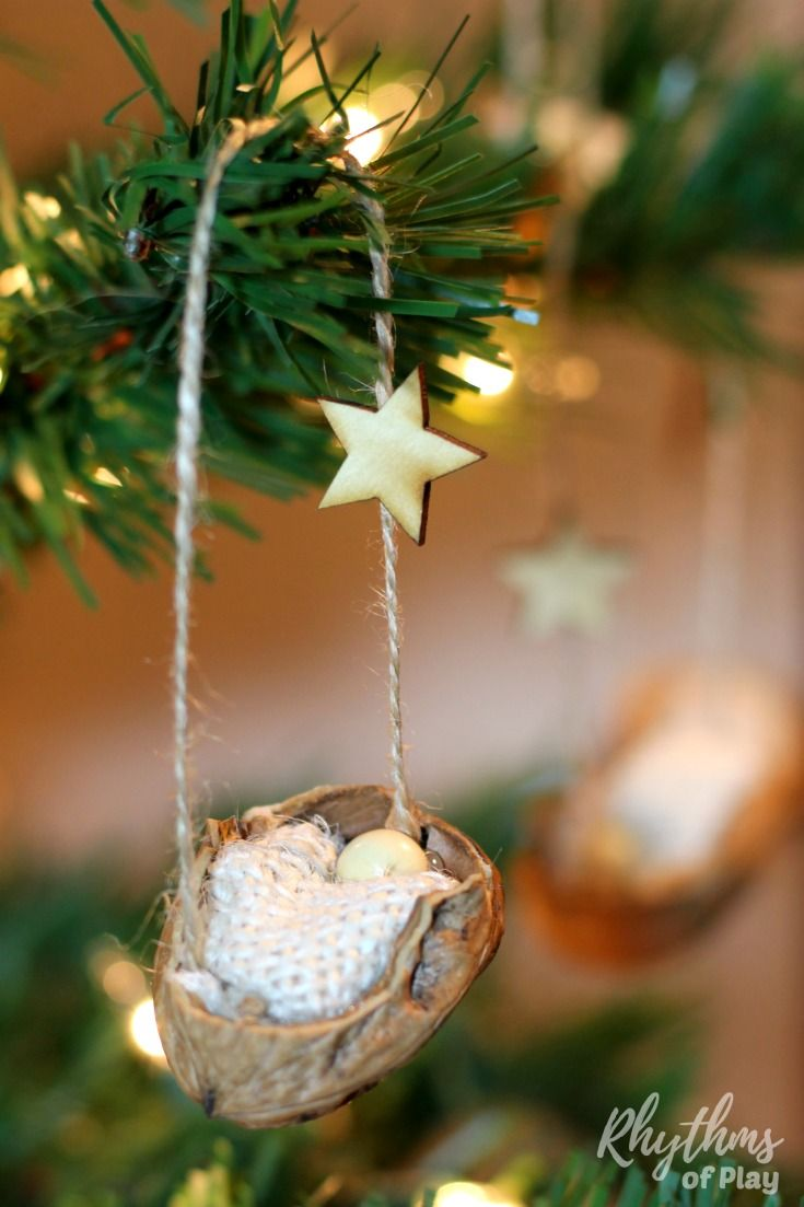 Rustic Walnut Shell Manger Christmas Ornament  Walnut shell