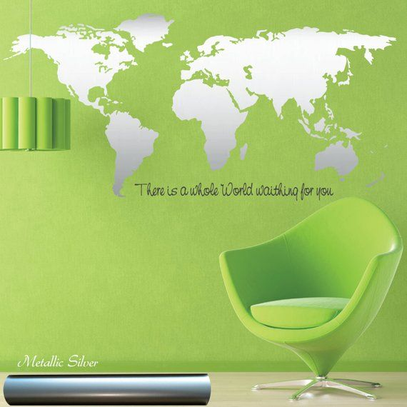world map wall decal - silver world map - gold world map - copper