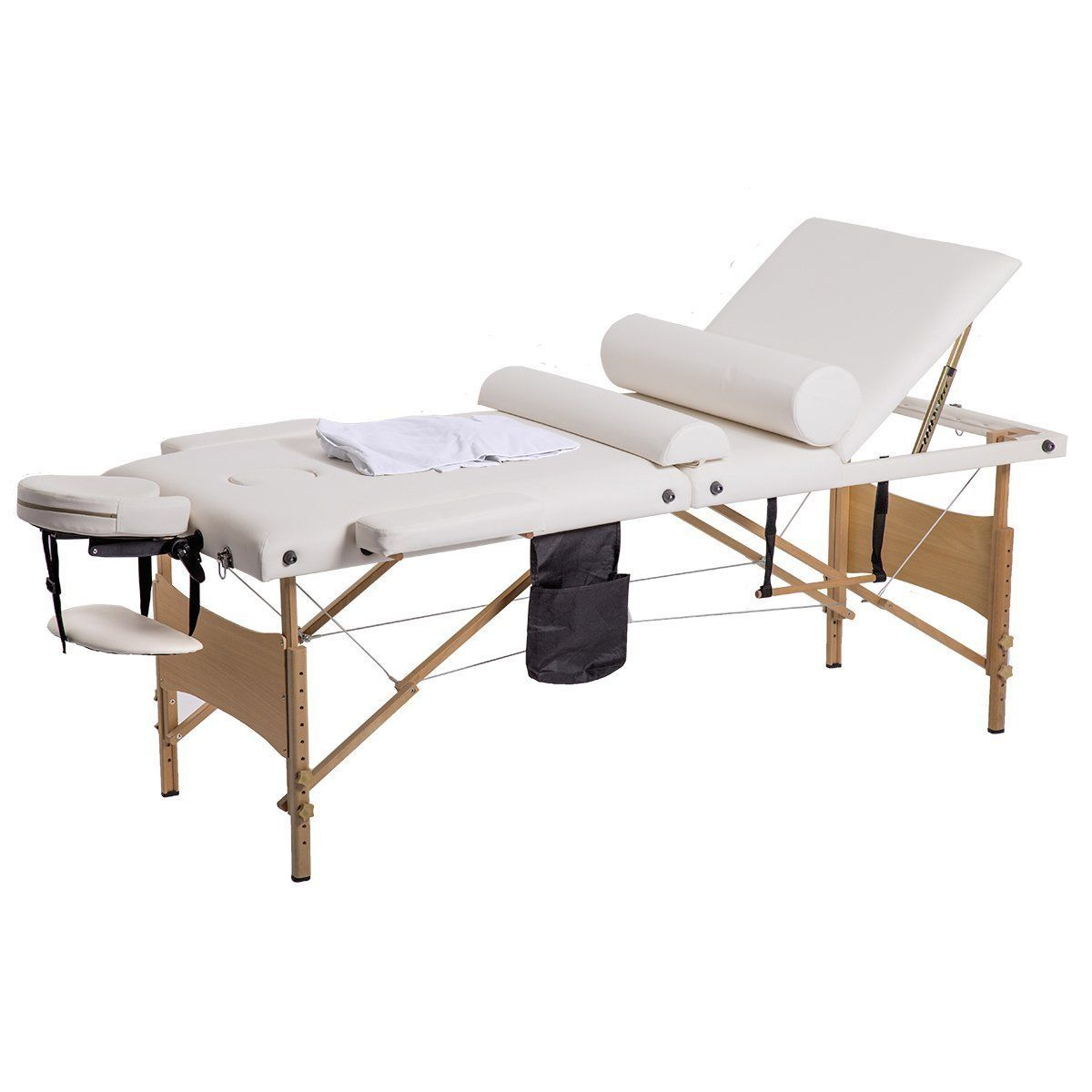 New 84u0027L 3 Fold Massage Table Portable Facial Bed W/ Sheet Bolsters Carry