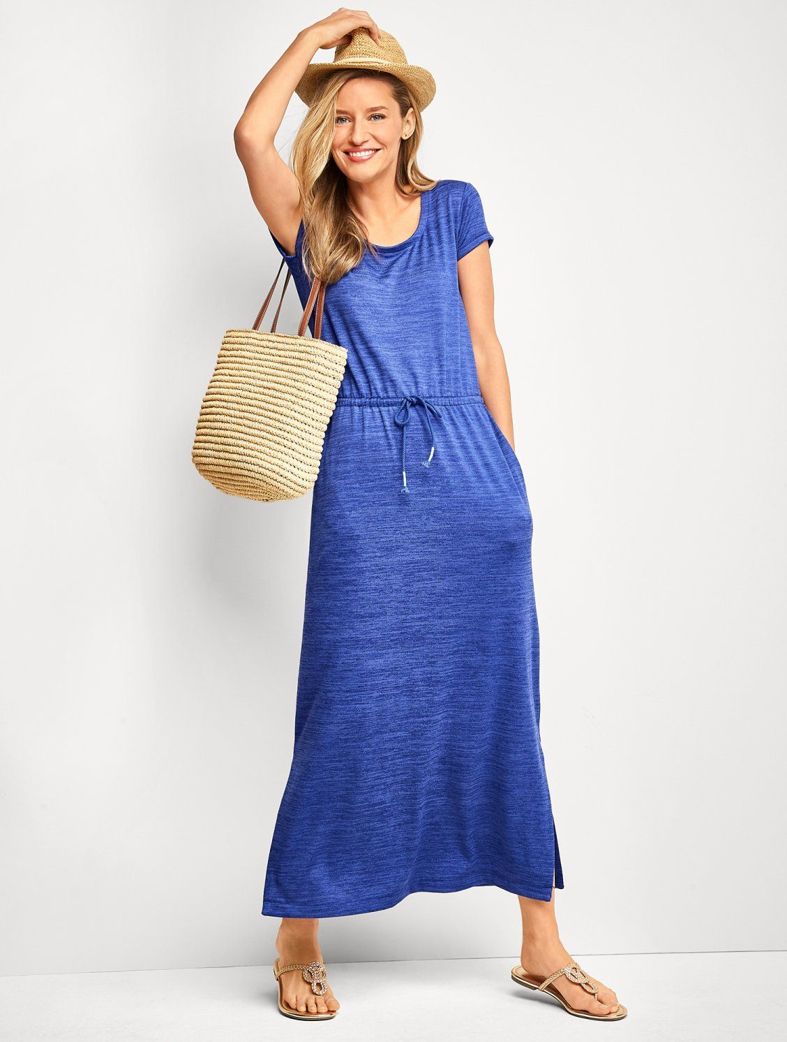 Easy Stylish And Comfortable Crafted From Our Feel Good Jersey Fabric This Maxi Dress Is Made For Life On T Drawstring Maxi Dress Maxi Dress Talbots Fashion [ 1492 x 1128 Pixel ]