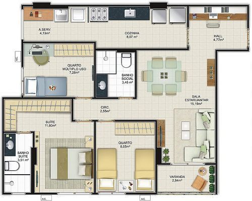 Planta De Casa Com Até 70m2 · 3d House PlansHouse ...