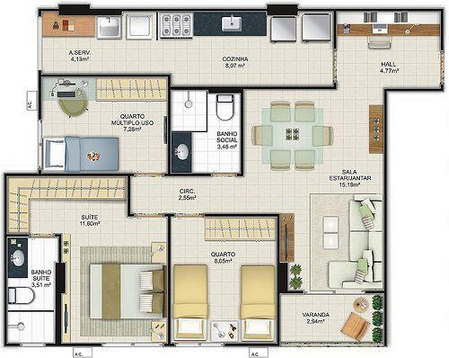 Planta de casa com at 70m2 projetos at 100 m2 for Casa moderna 80m2