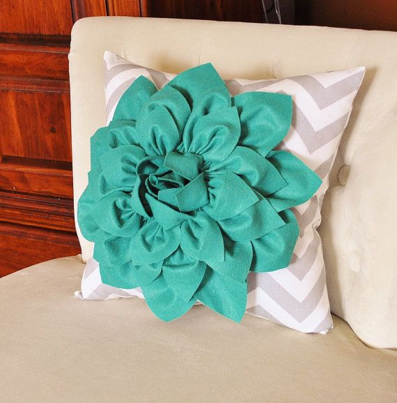 Teal Dahlia On Gray And White Zigzag Pillow Chevron By