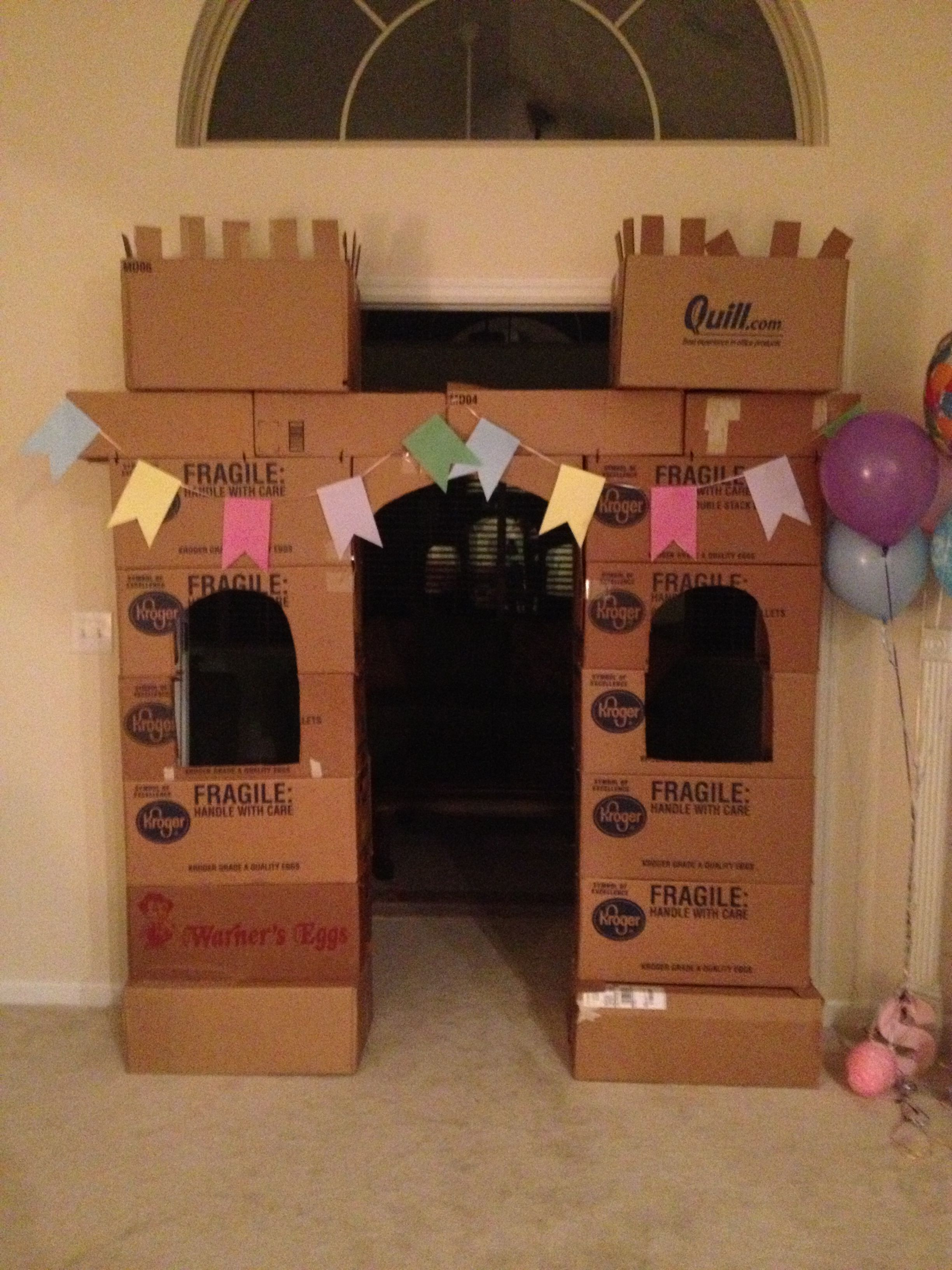 princess castle made out of our moving boxes and zip ties from walmart best birthday. Black Bedroom Furniture Sets. Home Design Ideas