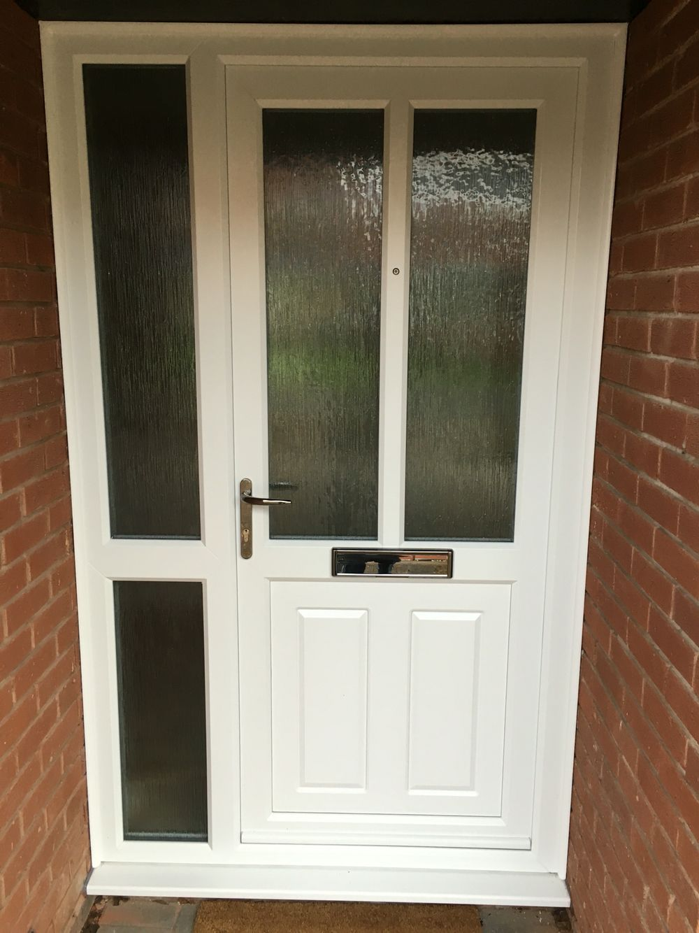 Fenesta upvc doors windows glass flooring - White Upvc Door And Side Panel Mullion And Midrail Giving Strong Security And Ascetics With