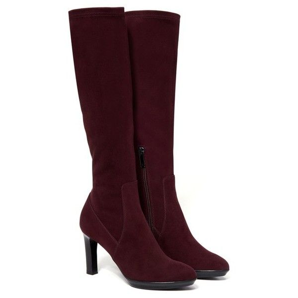 Aquatalia Rumbah ($750) ❤ liked on Polyvore featuring shoes, boots, knee-boots, oxblood, stretch leather boots, over-the-knee high-heel boots, shearling-lined boots, stretch knee high boots and leather boots