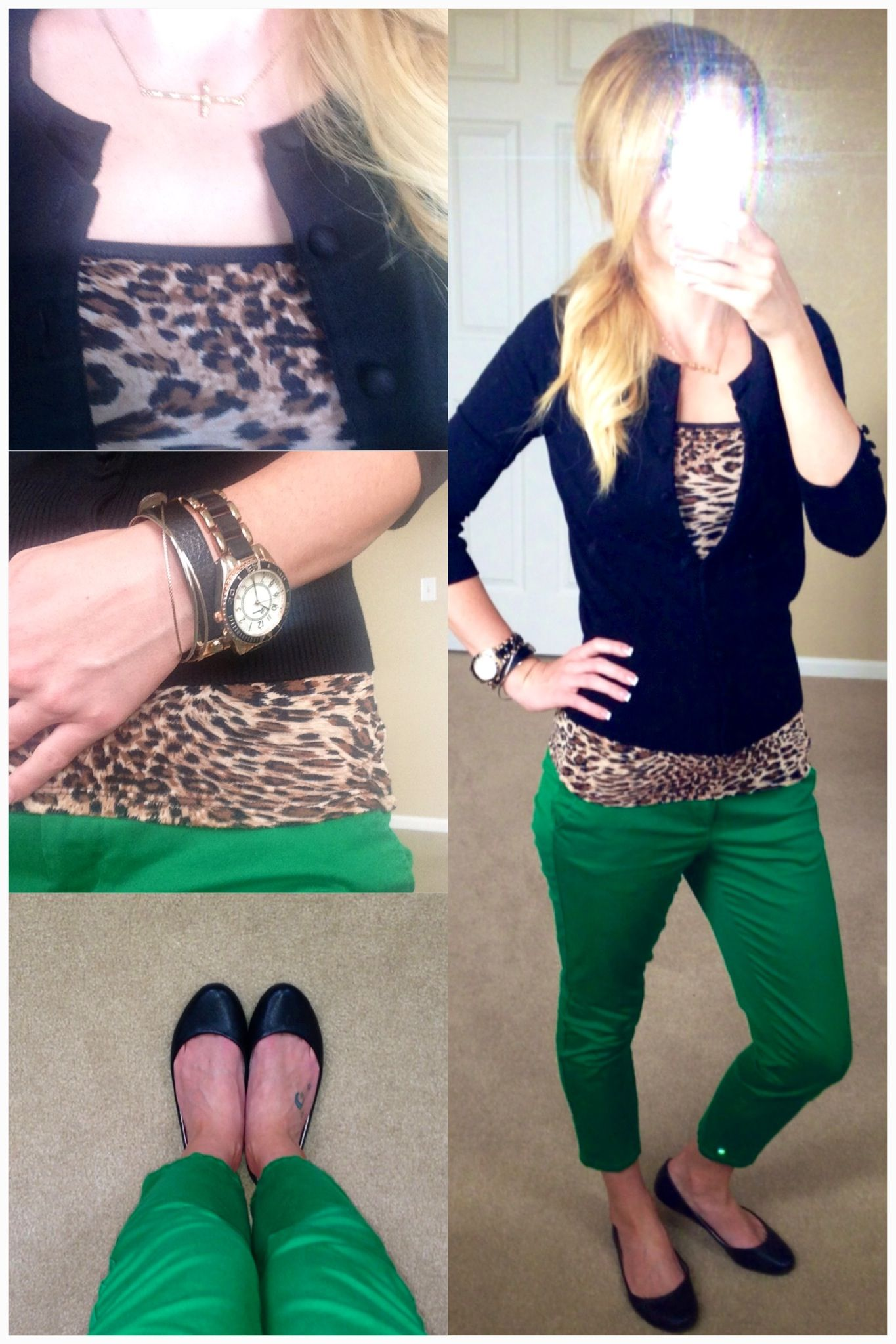 Cute work outfit : Green trousers : Leopard print top : Black ...