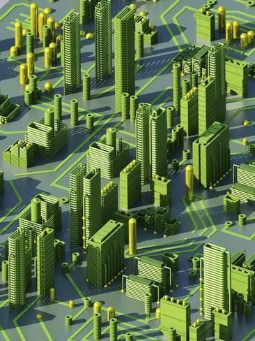 Photographic Print Circuit City Computer Artwork By Pasieka