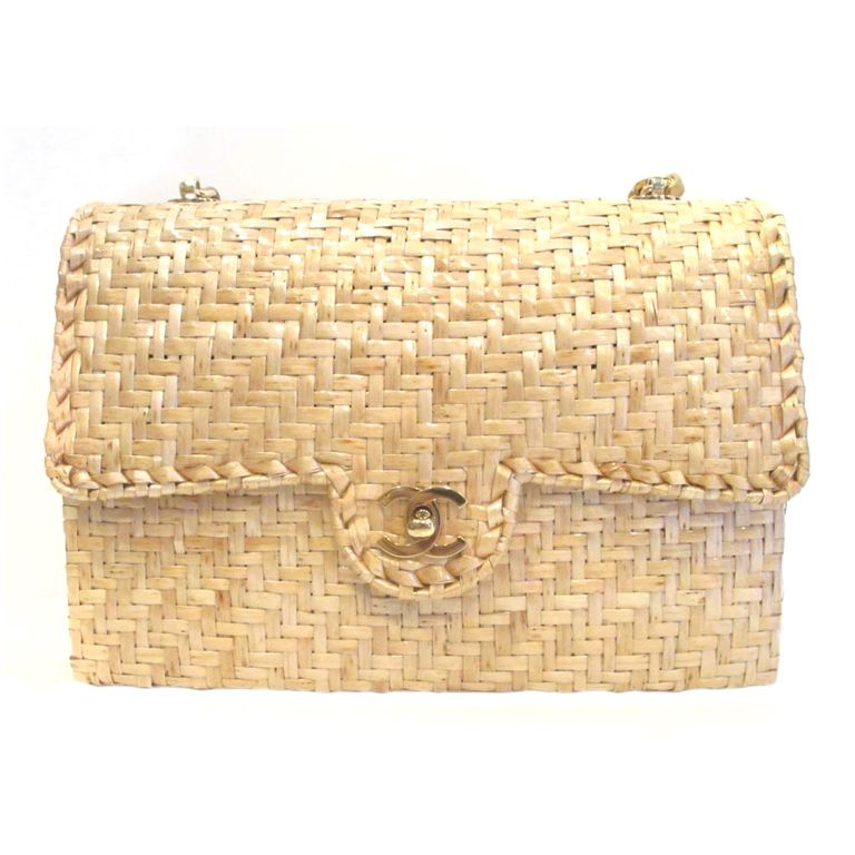 32cf88686798a0 CHANEL Beige Woven Raffia Shoulder Bag | From a collection of rare vintage  handbags and purses