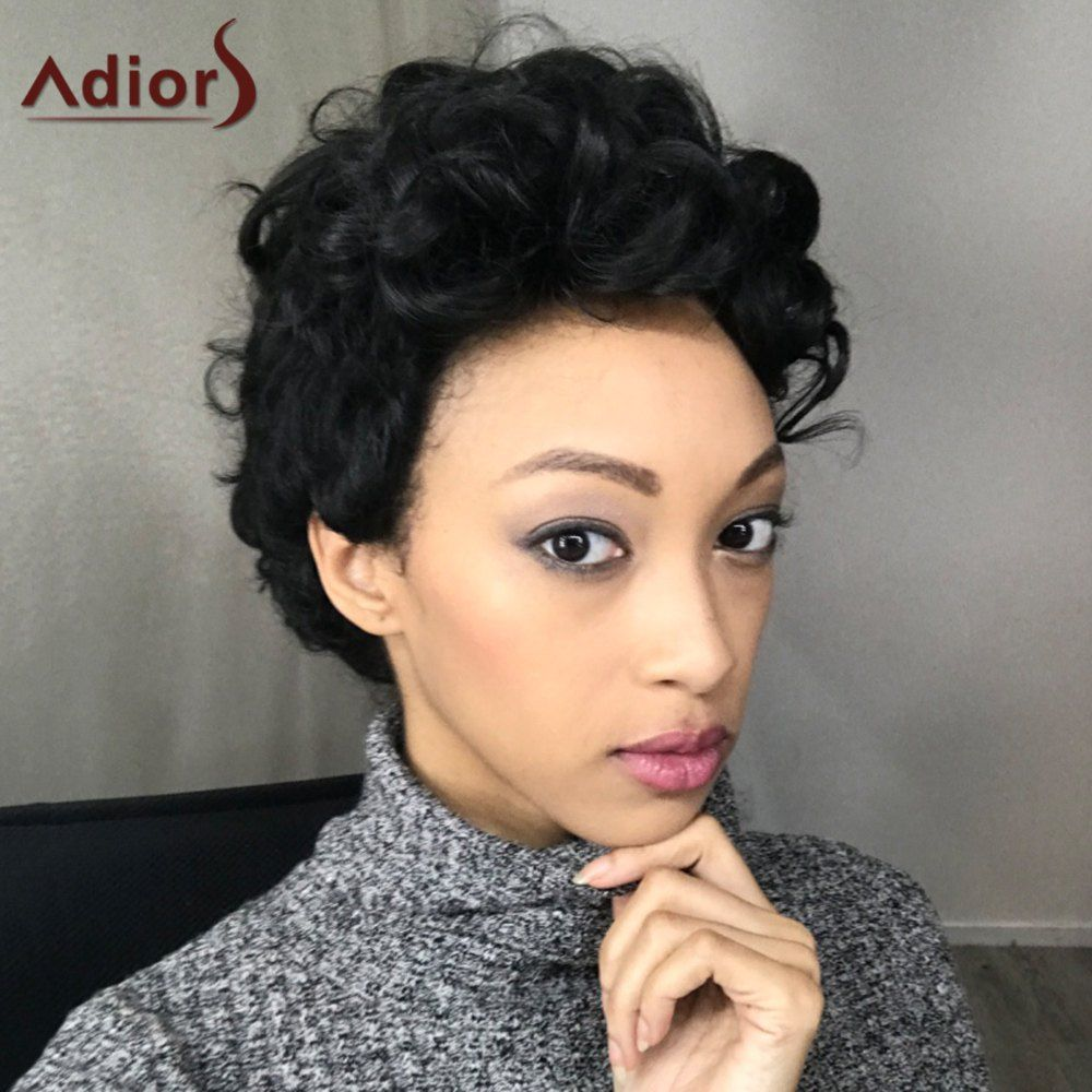Adiors Short Fluffy Curly Side Parting Synthetic Wig