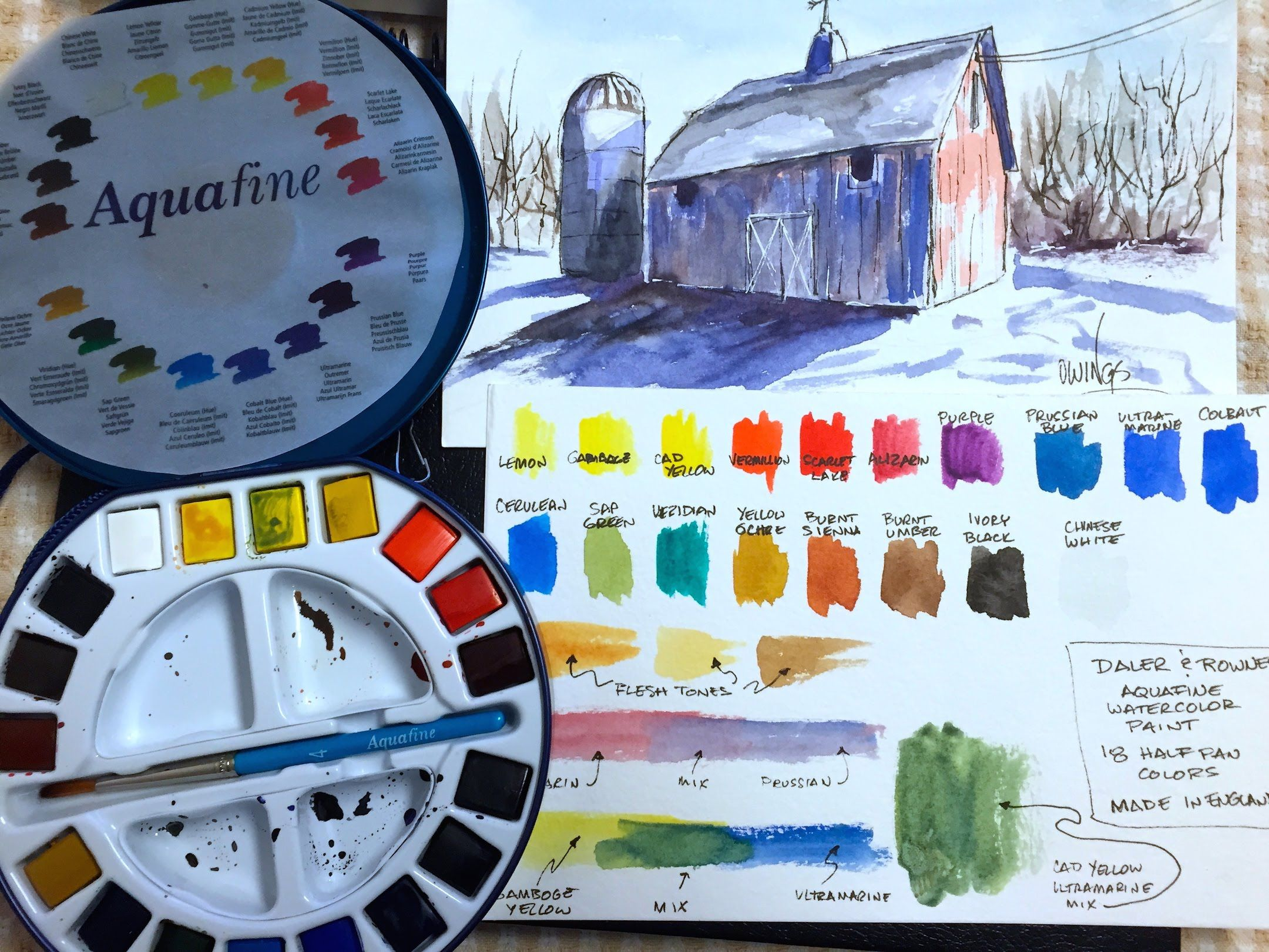 Daler Rowney Aquafine Watercolors Review And Demo Watercolor