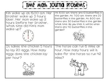 Time Math Journal Problems | Measurement - Telling Time | Math ...