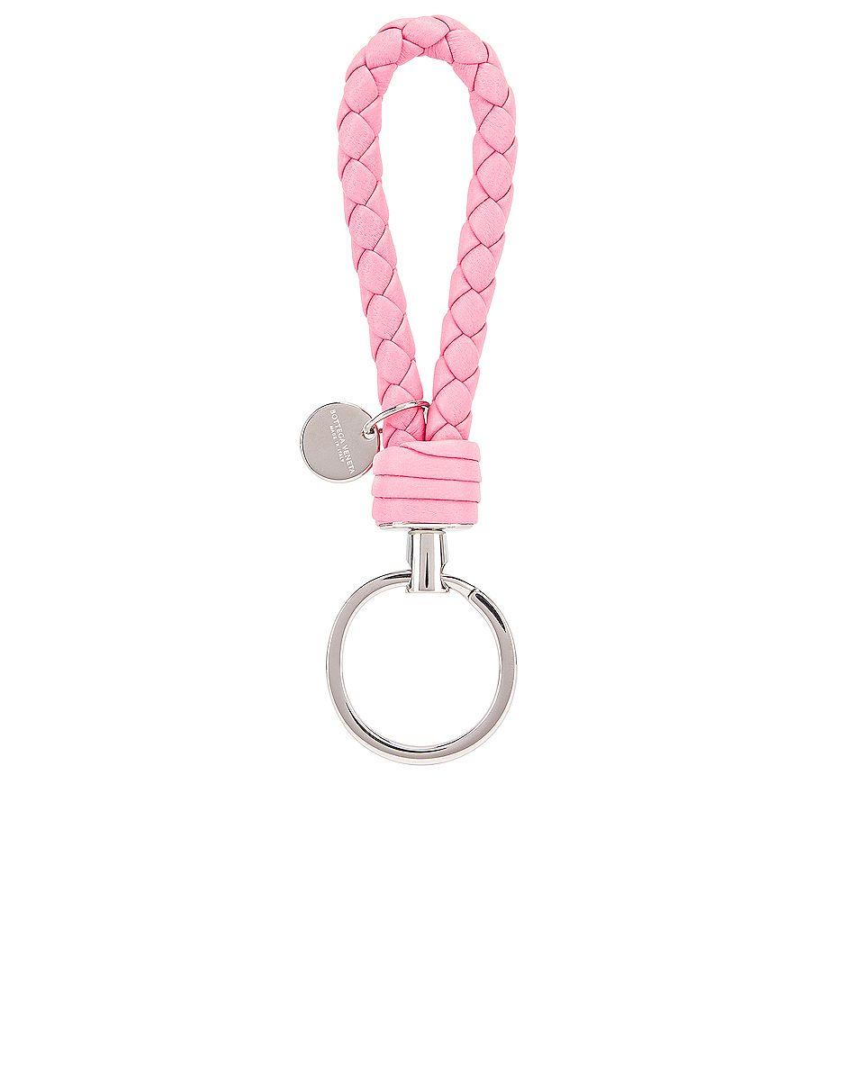 Woven Key Ring In Rosa Bottega Veneta Veneta Key Rings