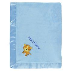 #Matthew baby boy blanket in blue with a  little tiger. The name Matthew is personalized with unique embroidery in a custom design, perfect as a newborn #baby shower gift.  https://www.babyblankets.com/use/crib/blue-baby-blanket?utm_source=pinterest&utm_medium=pin&utm_campaign=boy_name