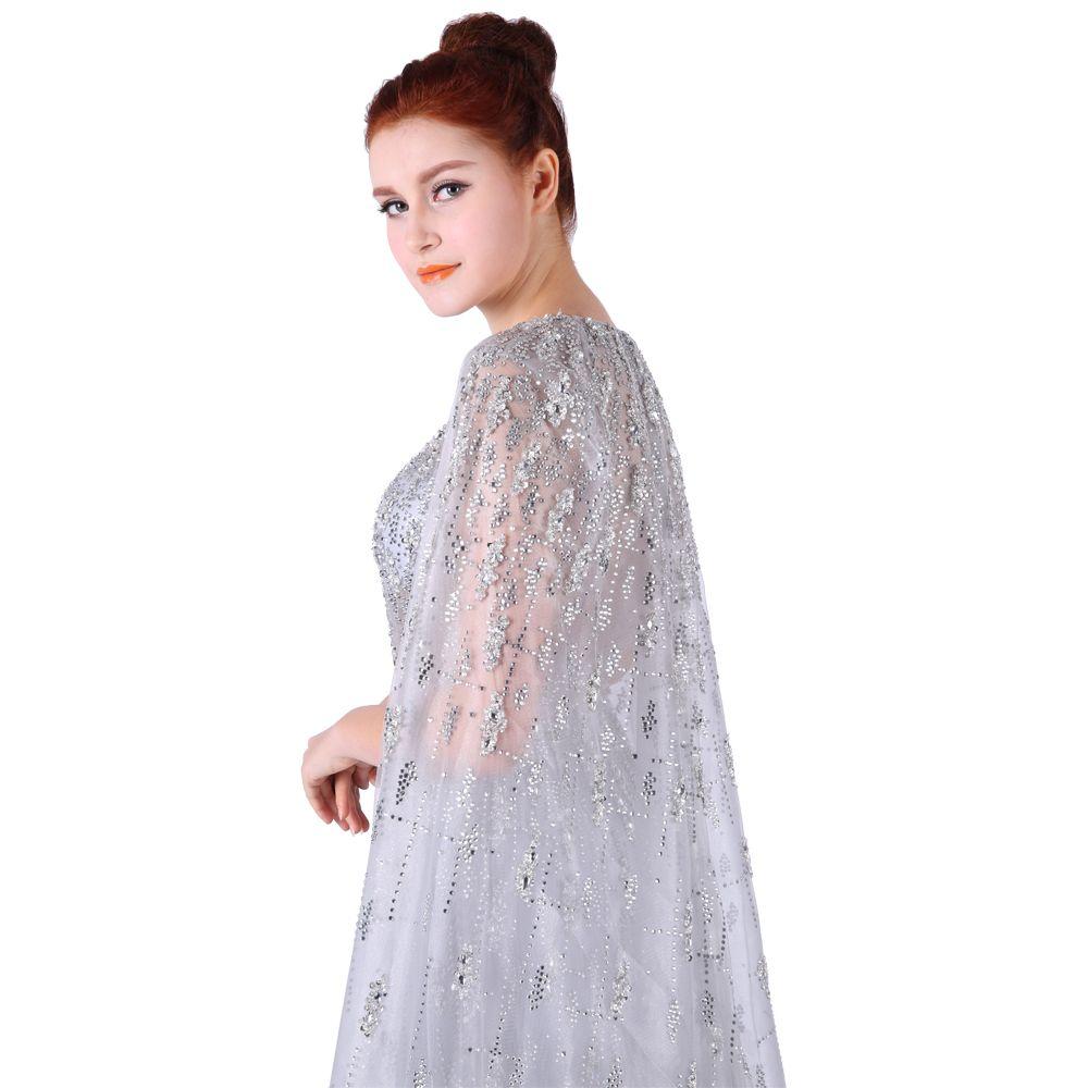 Women silver sexy prom dresses round neck sleeveless sweep train