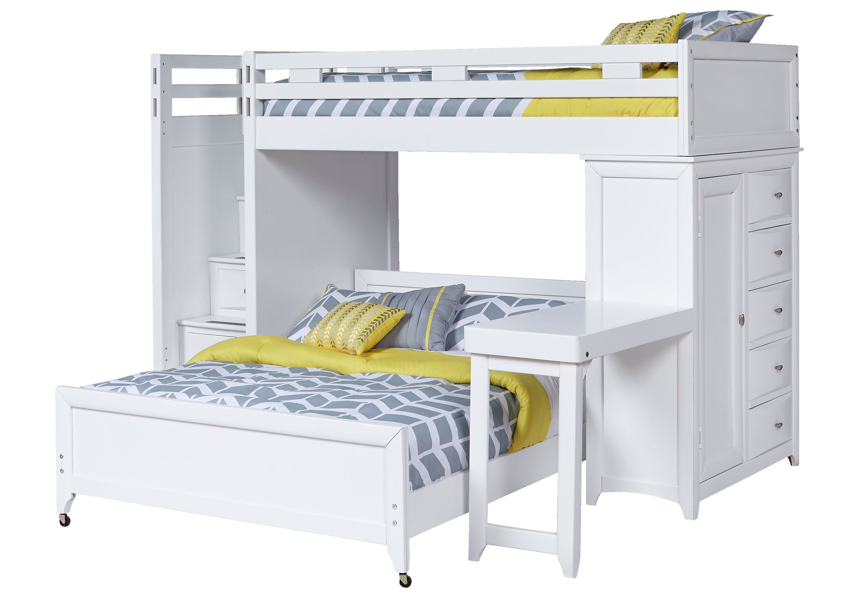 Loft bed with desk white  picture of Ivy League White TwinTwin Step Loft Bunk with Chest and